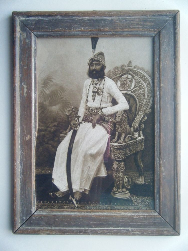 Indian Maharaja Rare Framed Photograph, Vintage Photo in Old Wooden Frame #2693
