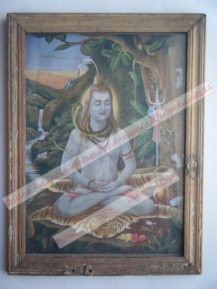 Samadhi Shiva Vintage Old Religious Print in Old Wooden Frame India Art #2389