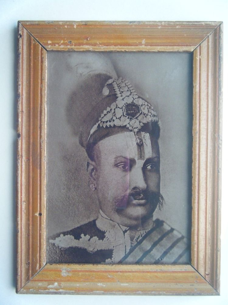 Indian Maharaja Rare Framed Photograph, Vintage Photo in Old Wooden Frame #2699