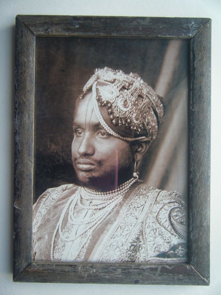 Indian Maharaja Rare Framed Photograph, Vintage Photo in Old Wooden Frame #2710