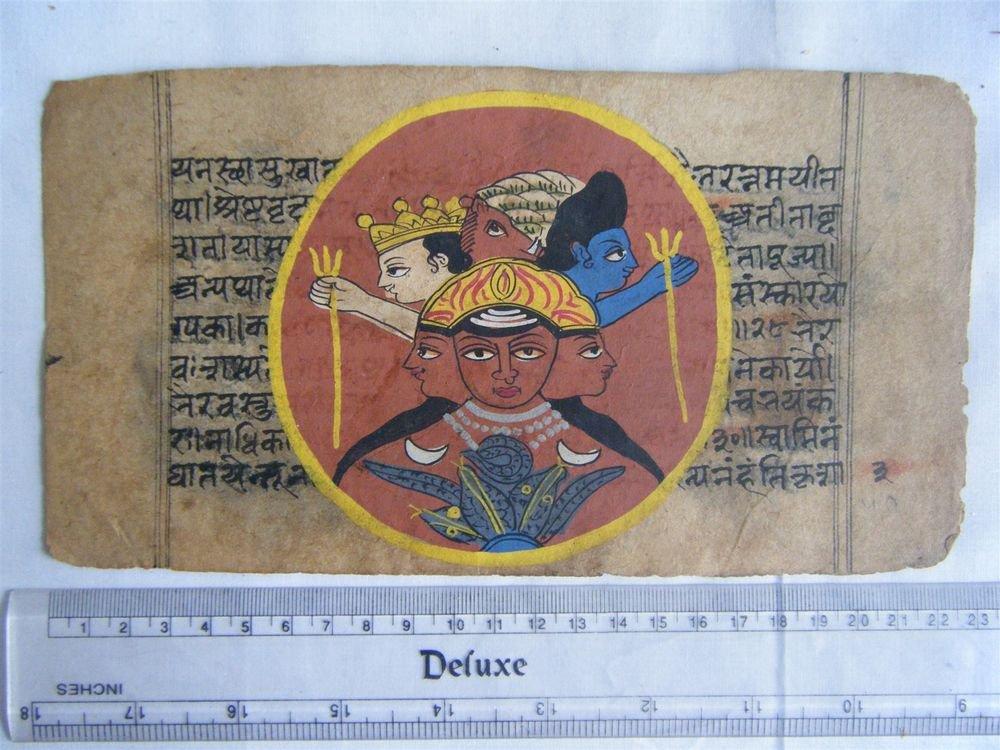 Original Antique Manuscript Old Jain Cosmology New Hand Painting Rare India #567