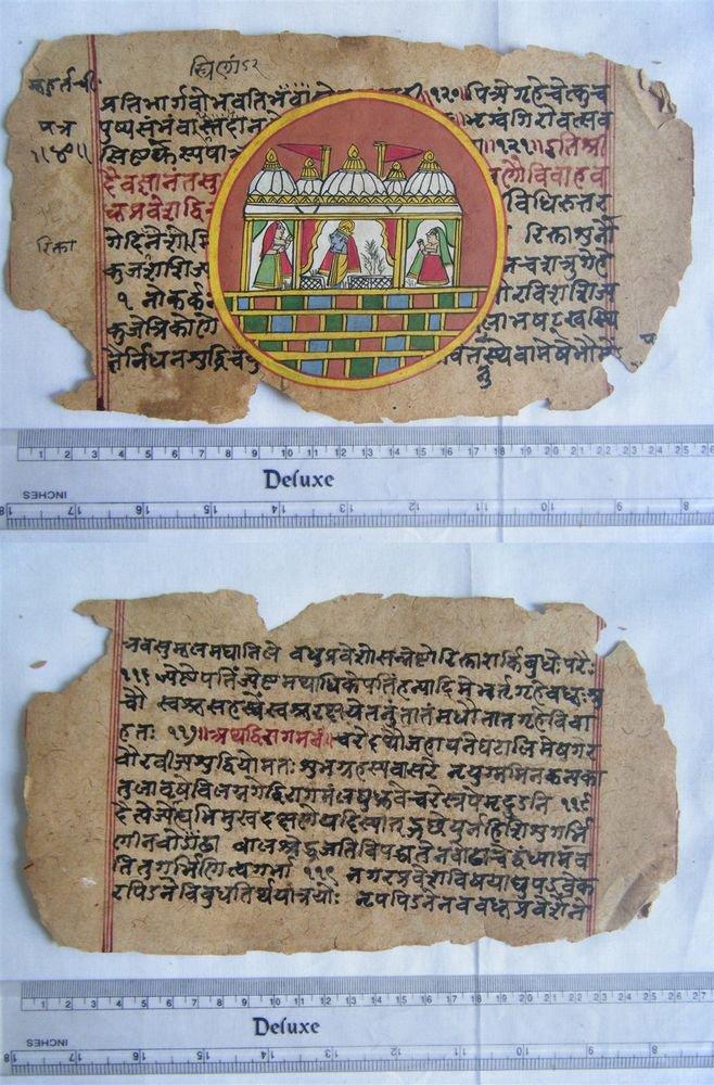 Original Antique Manuscript Old Jain Cosmology New Hand Painting Rare India #563