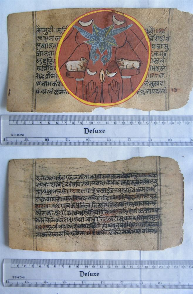 Original Antique Old Manuscript Jain Cosmology New Hand Painting Rare India #577