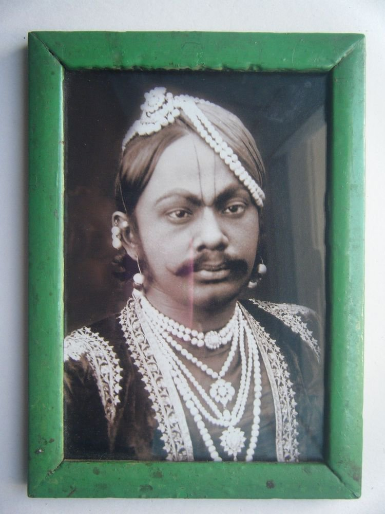Indian Maharaja Rare Framed Photograph, Vintage Photo in Old Wooden Frame #2711