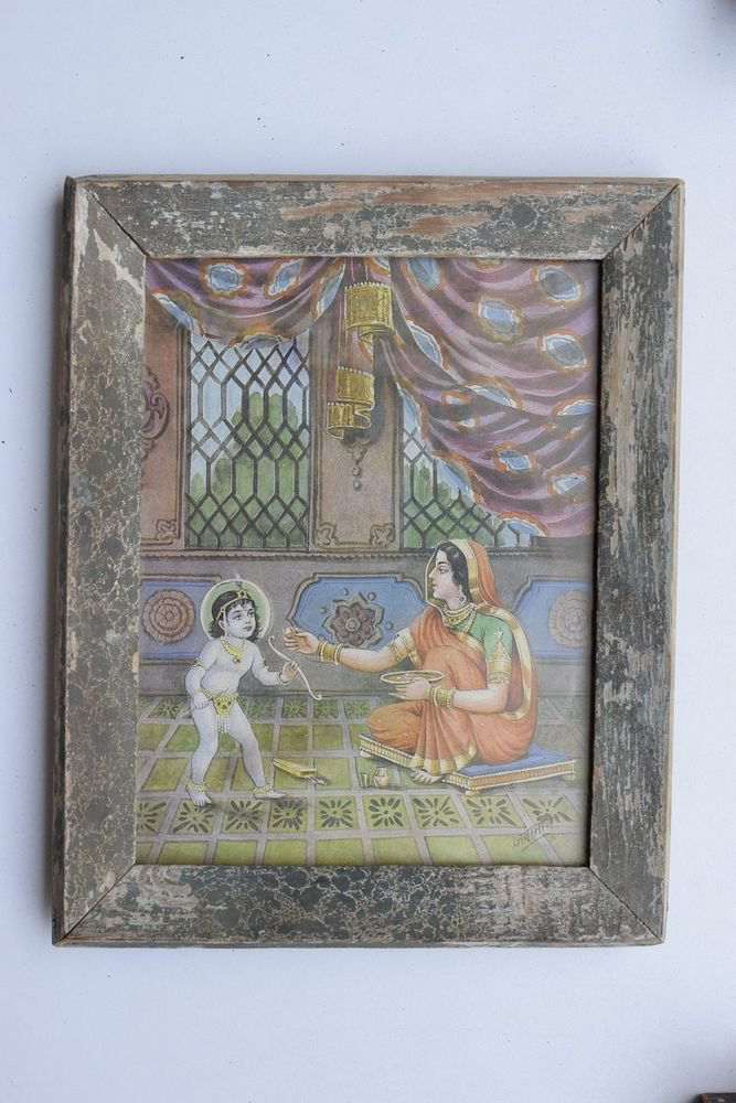 Baby Krishna Collectible Rare Old Art Print in Old Wooden Frame from India #3286