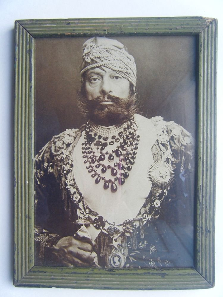Indian Maharaja Rare Framed Photograph, Vintage Photo in Old Wooden Frame #2685