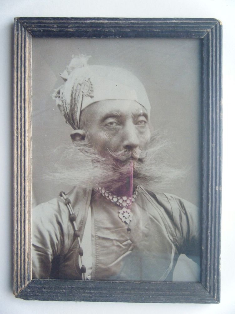 Indian Maharaja Rare Framed Photograph, Vintage Photo in Old Wooden Frame #2695