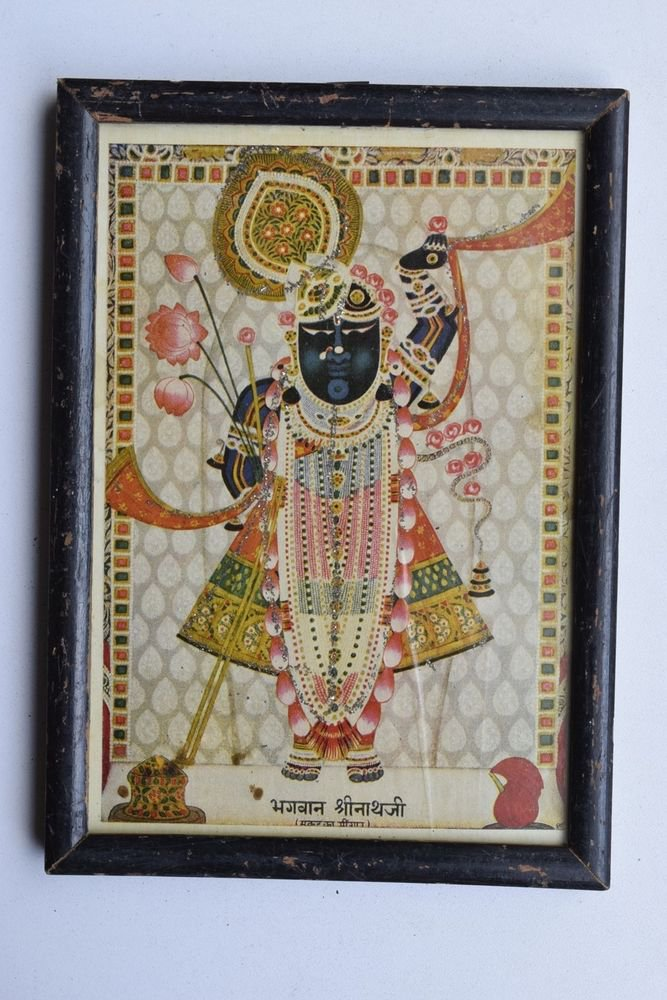 Shrinathji Krishna Old Original Hand Color Painting in Old Wooden Frame #3220