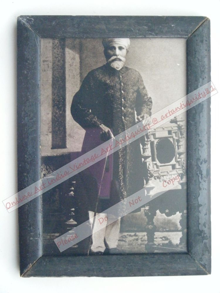Indian Maharaja Framed Photograph, Vintage Photo in Old Wooden Frame #2615