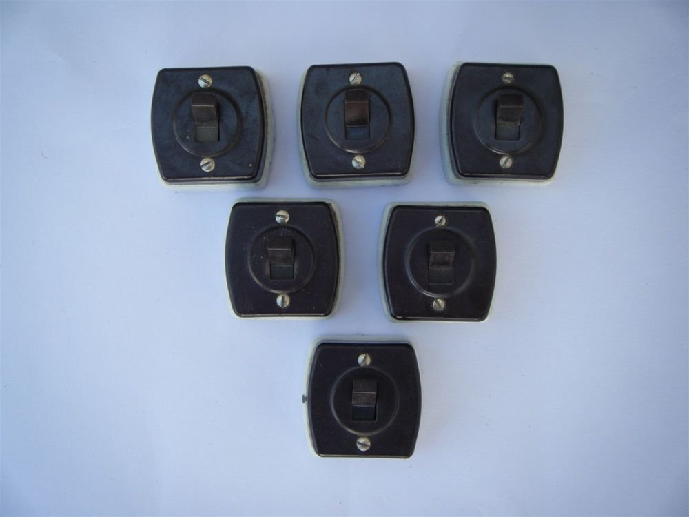 1930s Rare Old Lot Of 6 Bakelite & Porcelain Electric Switch Made in Japan #1173
