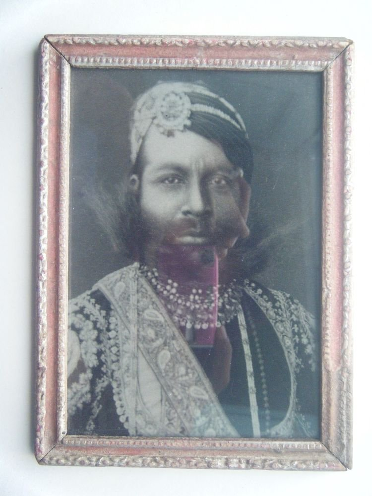 Indian Maharaja Rare Framed Photograph, Vintage Photo in Old Wooden Frame #2703