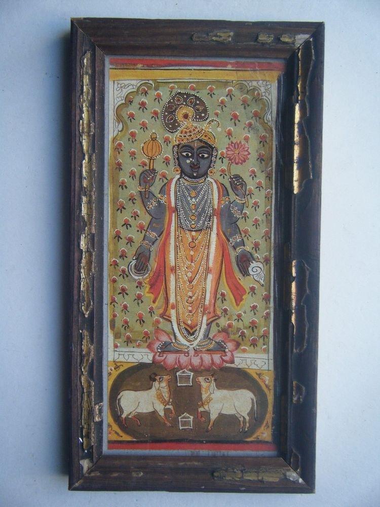 Hindu God Krishna Nice Old Religious Print in Old Wooden Frame India Art #2819