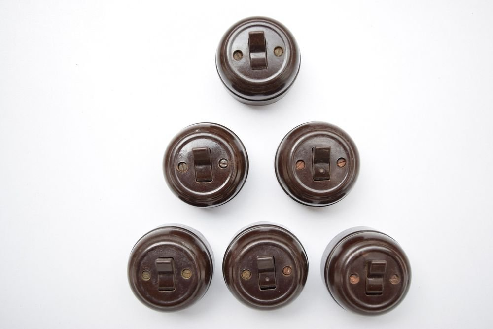 1950s Lot of 6 Rare Old Bakelite Electric Switch Indian Made Original #1330