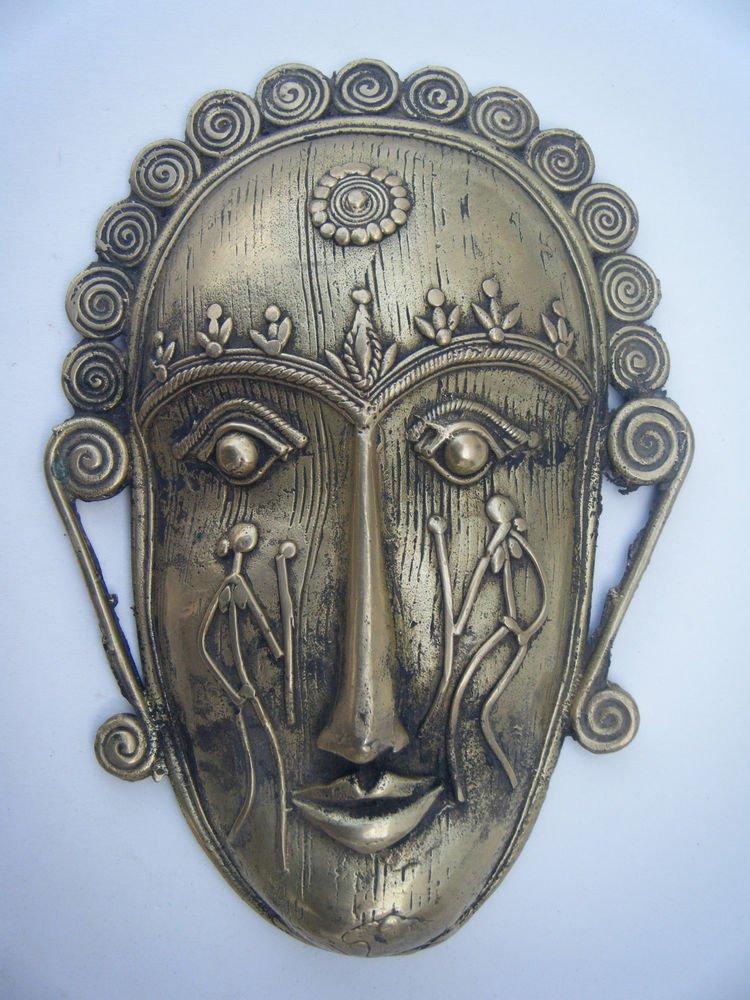 Tribal Brass Mask Old Rare Antique Vintage Handmade Original Indian Mask #1054