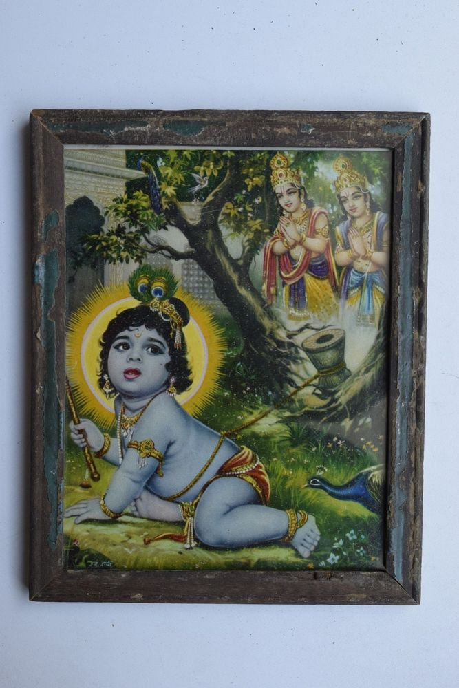 Baby Krishna Collectible Rare Old Art Print in Old Wooden Frame from India #3290
