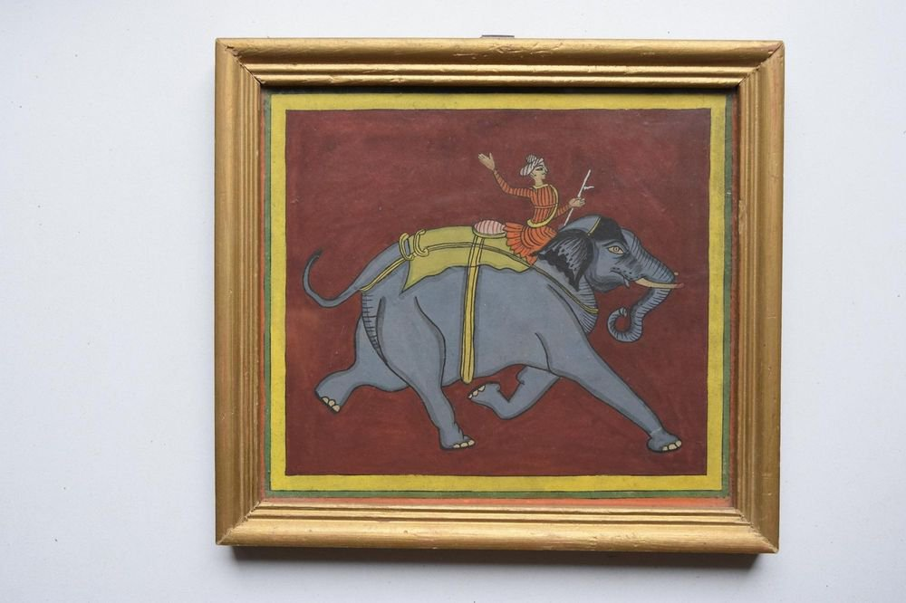 Beautiful Elephant Hand Color Folk Painting in Old Wooden Frame India #3102