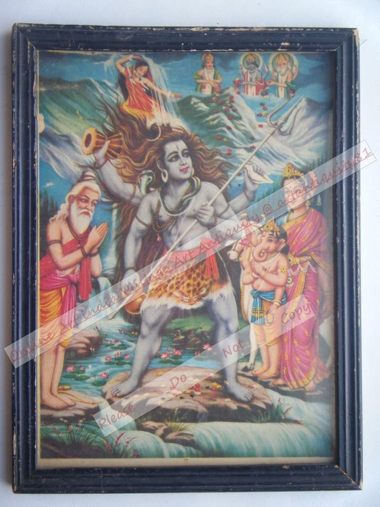 Hindu Lord Shiv Vintage Old Religious Print in Old Wooden Frame India Art #2412