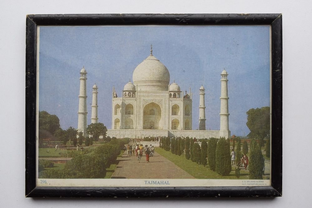 Taj Mahal, India Collectible Rare Vintage Old Print in Old Wooden Frame #3006