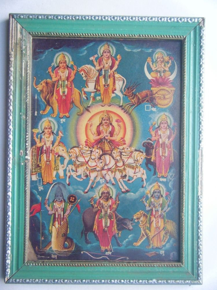Sun God & Other Planets Vintage Print in Old Wooden Frame Religious Art #2801