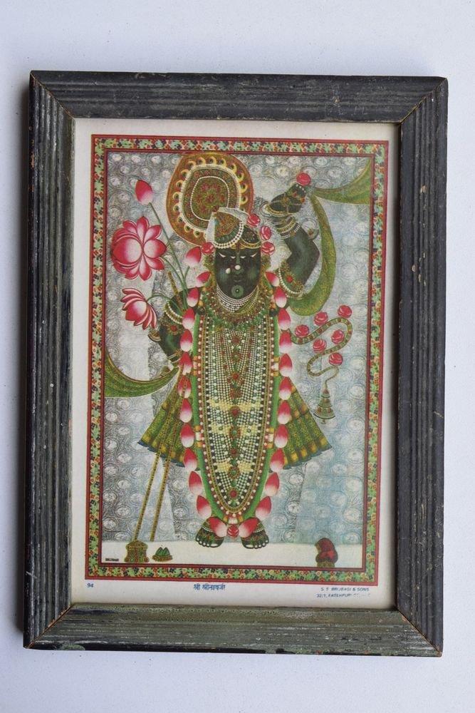 Shrinathji Krishna Old Original Hand Color Painting in Old Wooden Frame #3223