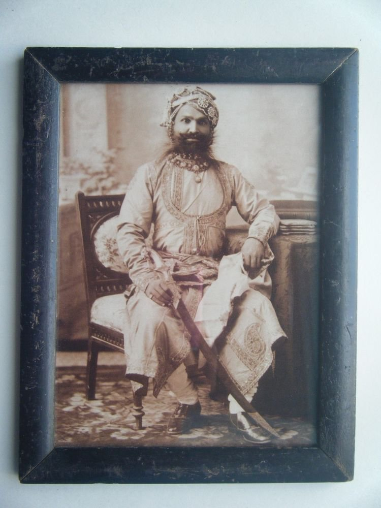 Indian Maharaja Rare Framed Photograph, Vintage Photo in Old Wooden Frame #2704