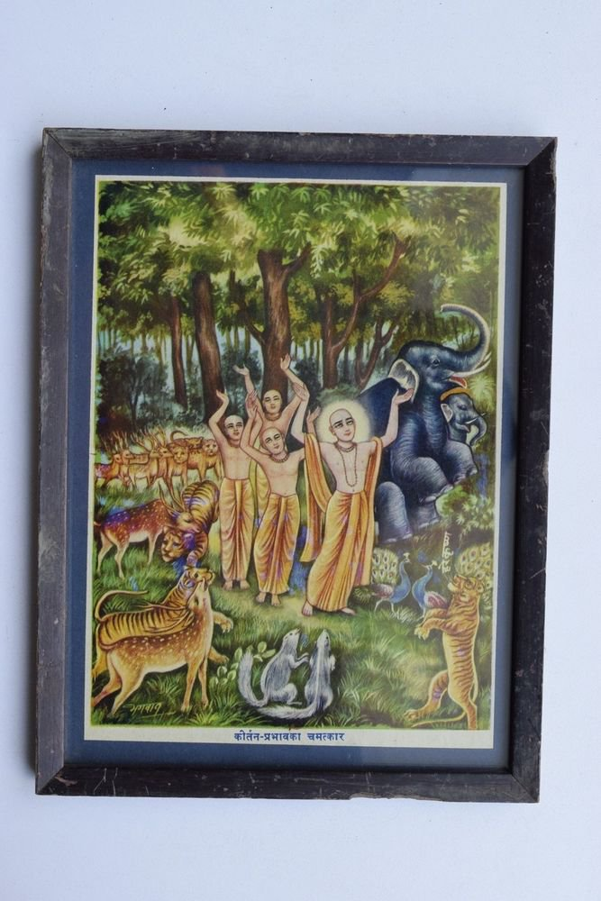 Saints Chanting Prayers Collectible Rare Old Art Print in Old Wooden Frame #3278