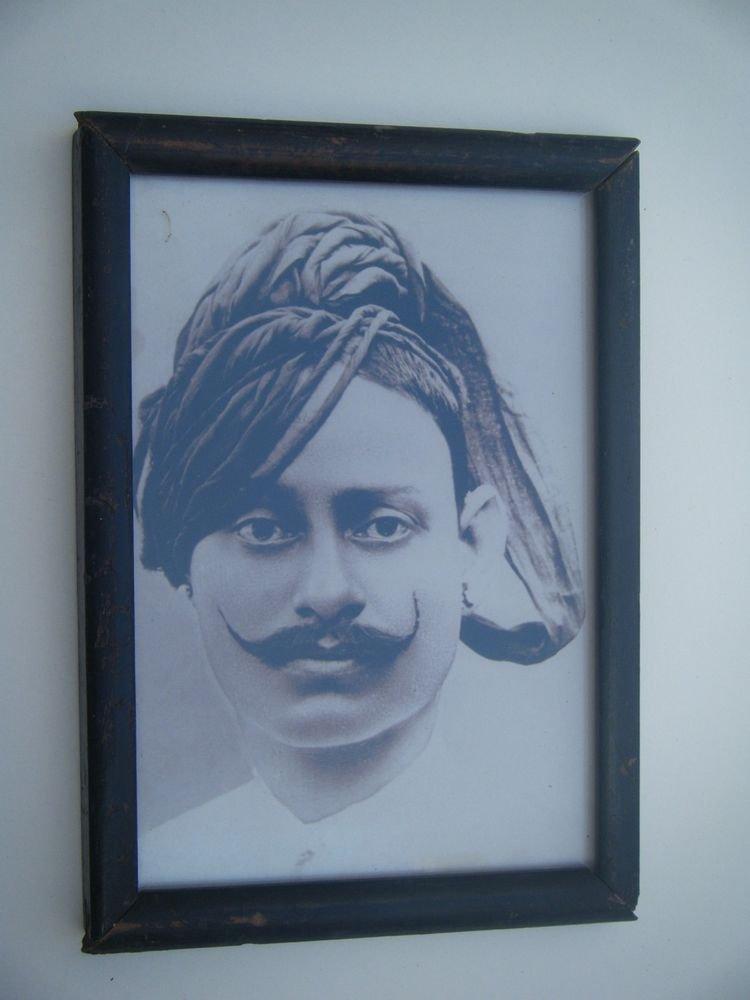 Indian Maharaja Framed Photograph, Vintage Photo in Old Wooden Frame #2682