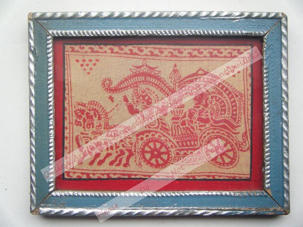 God Krishna Mahabharat Old Religious Print in Old Wooden Frame India Art #2535