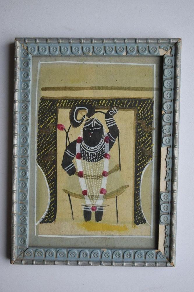 Shrinathji Krishna Old Original Hand Color Painting in Old Wooden Frame #3080
