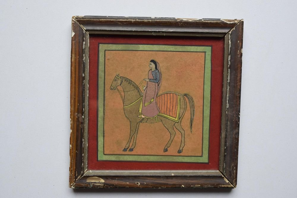 Beautiful Folk Horse Hand Color Painting in Old Wooden Frame India #3097