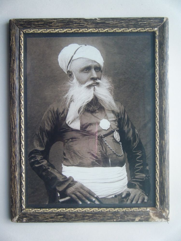 Indian Maharaja Rare Framed Photograph, Vintage Photo in Old Wooden Frame #2692