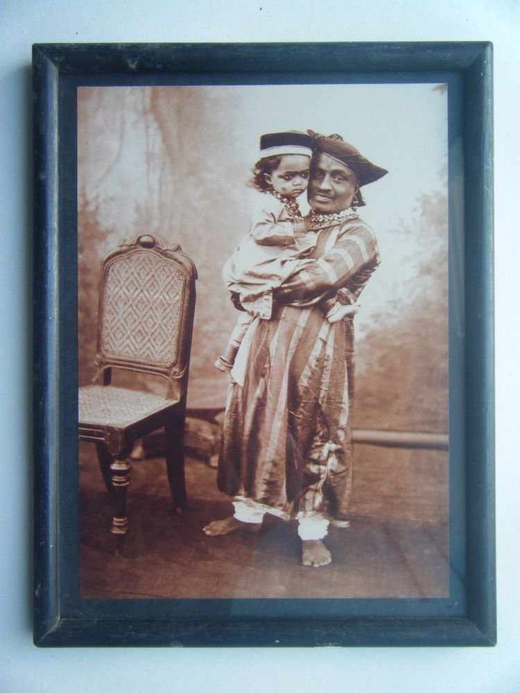 Indian Maharaja Rare Framed Photograph, Vintage Photo in Old Wooden Frame #2712