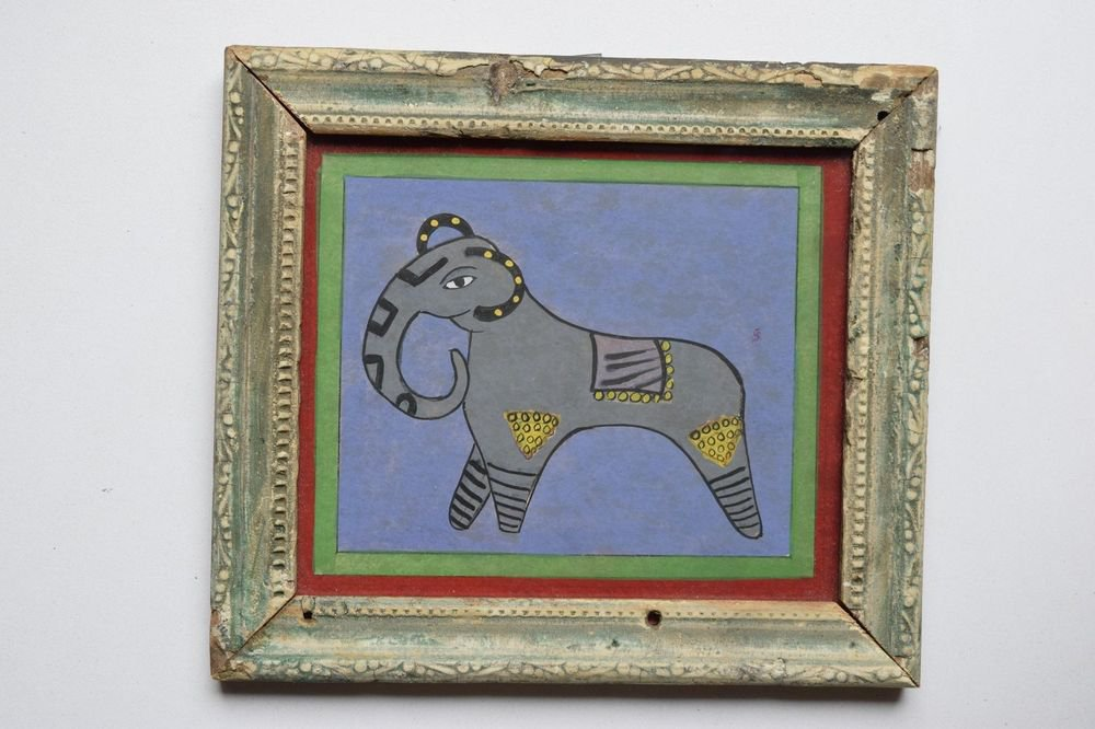 Beautiful Elephant Hand Color Folk Painting in Old Wooden Frame India #3104
