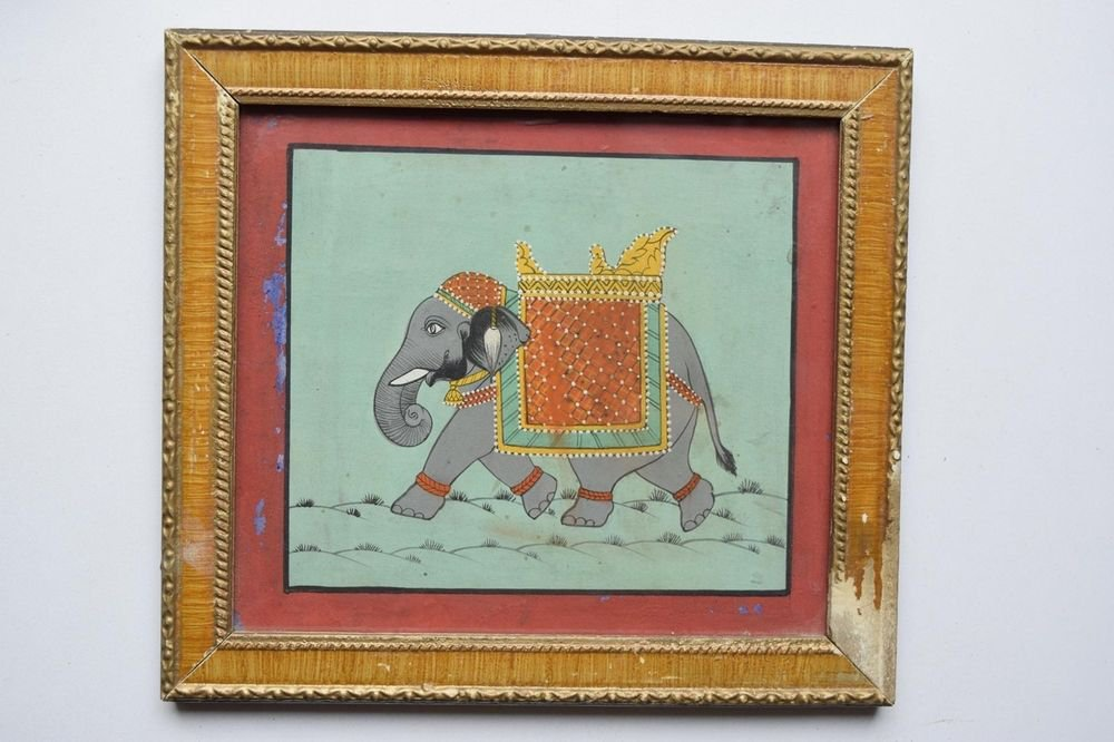 Beautiful Elephant Hand Color Folk Painting in Old Wooden Frame India #3100