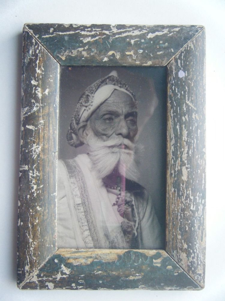 Indian Maharaja Rare Framed Photograph, Vintage Photo in Old Wooden Frame #2690