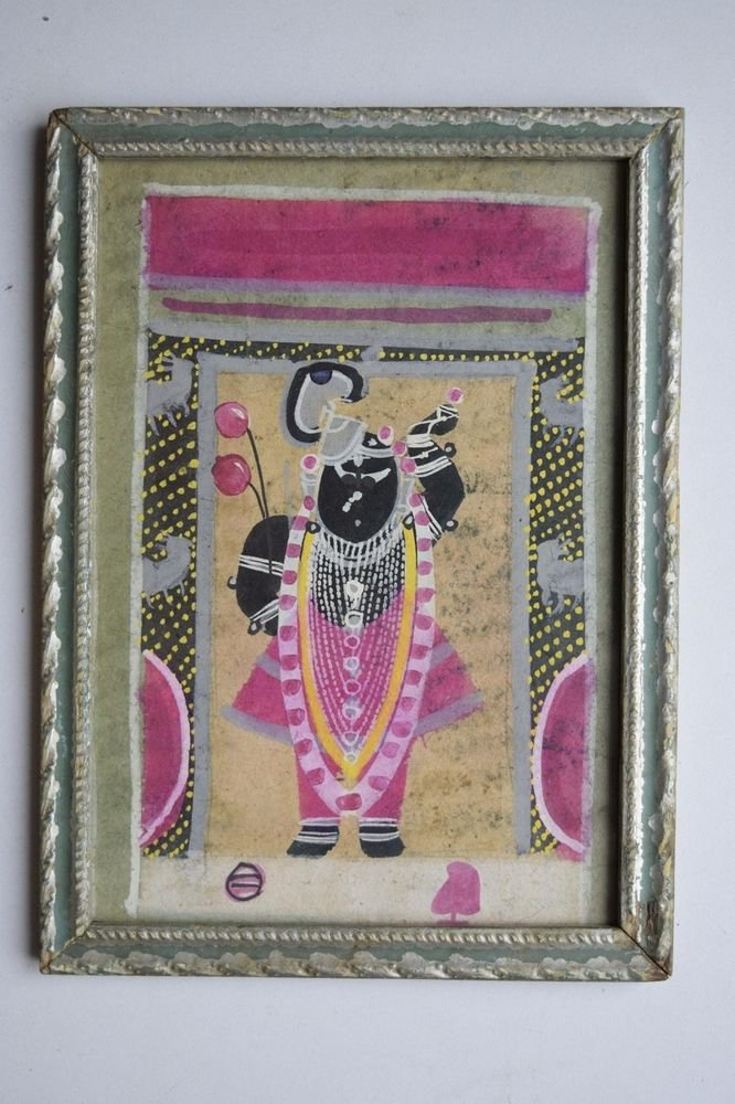 Hindu God Shrinathji Old Original Hand Color Painting in Old Wooden Frame #3077