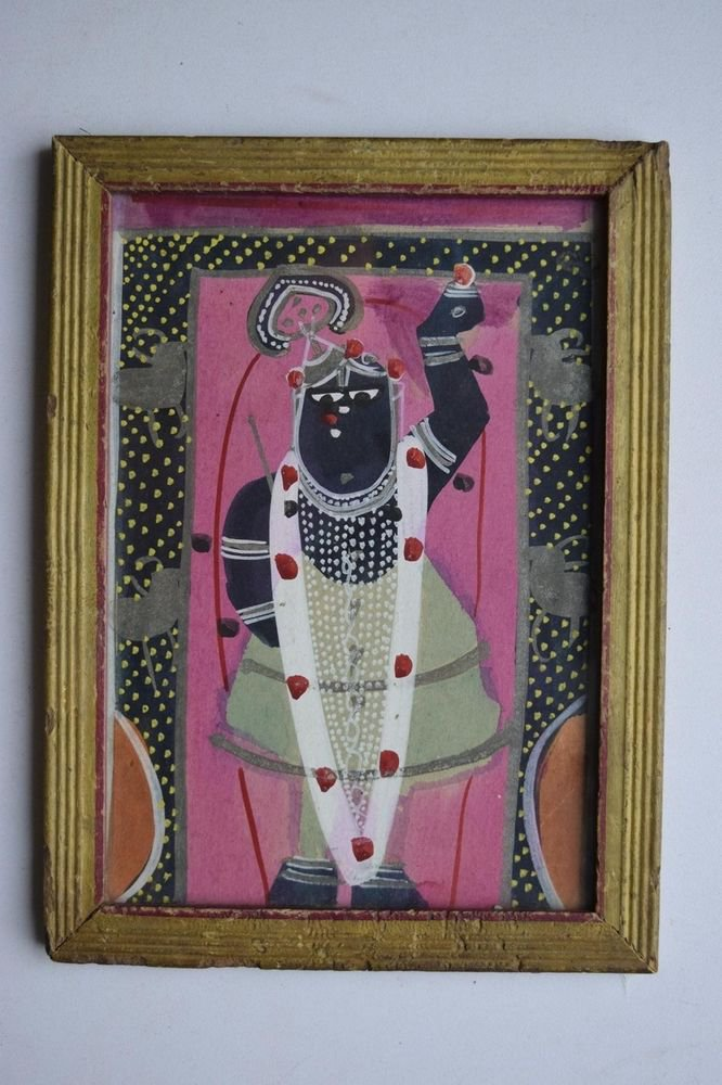 Hindu God Shrinathji Old Original Hand Color Painting in Old Wooden Frame #3079