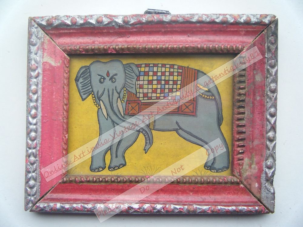 Beautiful Folk Style Elephant Hand Color Painting in Old Wooden Frame India#2564
