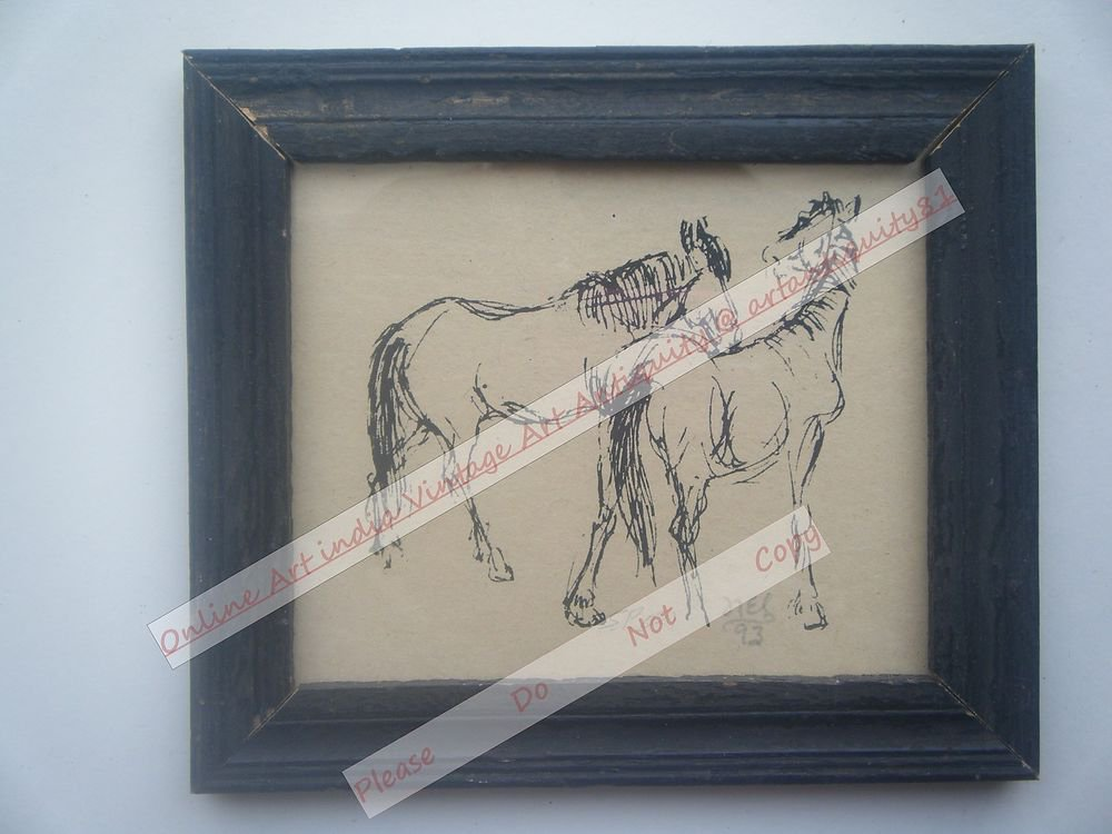 Beautiful Signed Art Print of Horses in Old Handmade Wooden Frame India #2376
