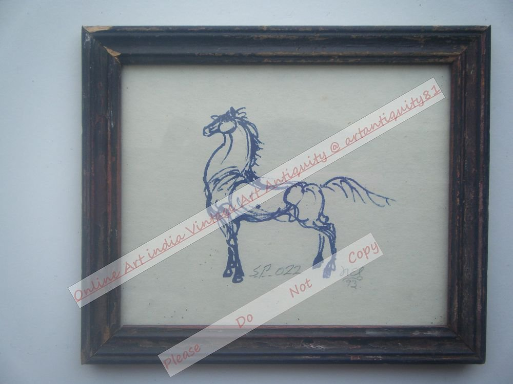 Beautiful Signed Art Print of Horse in Old Handmade Wooden Frame India #2374