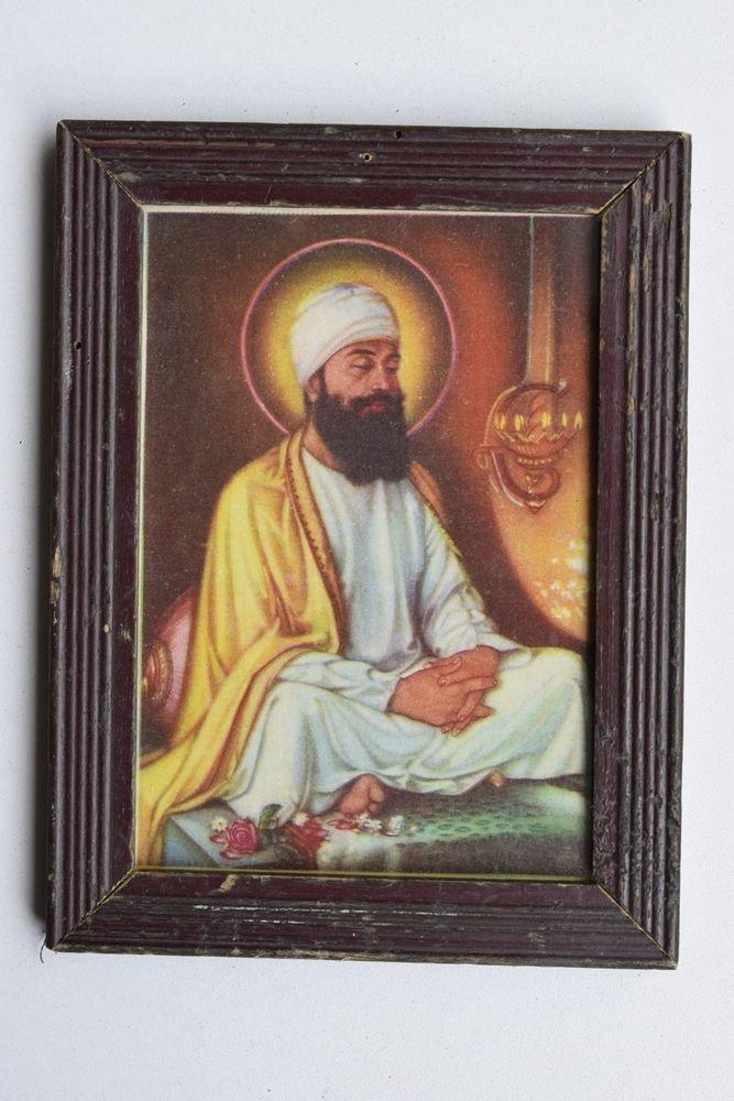 Sikh Guru Sikhism Rare Old Religious Print in Old Wooden Frame India Art #3215
