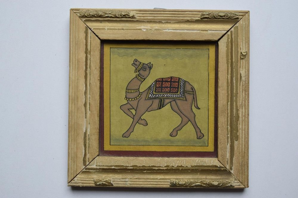 Beautiful Folk Style Camel Hand Color Painting in Old Wooden Frame India #3089