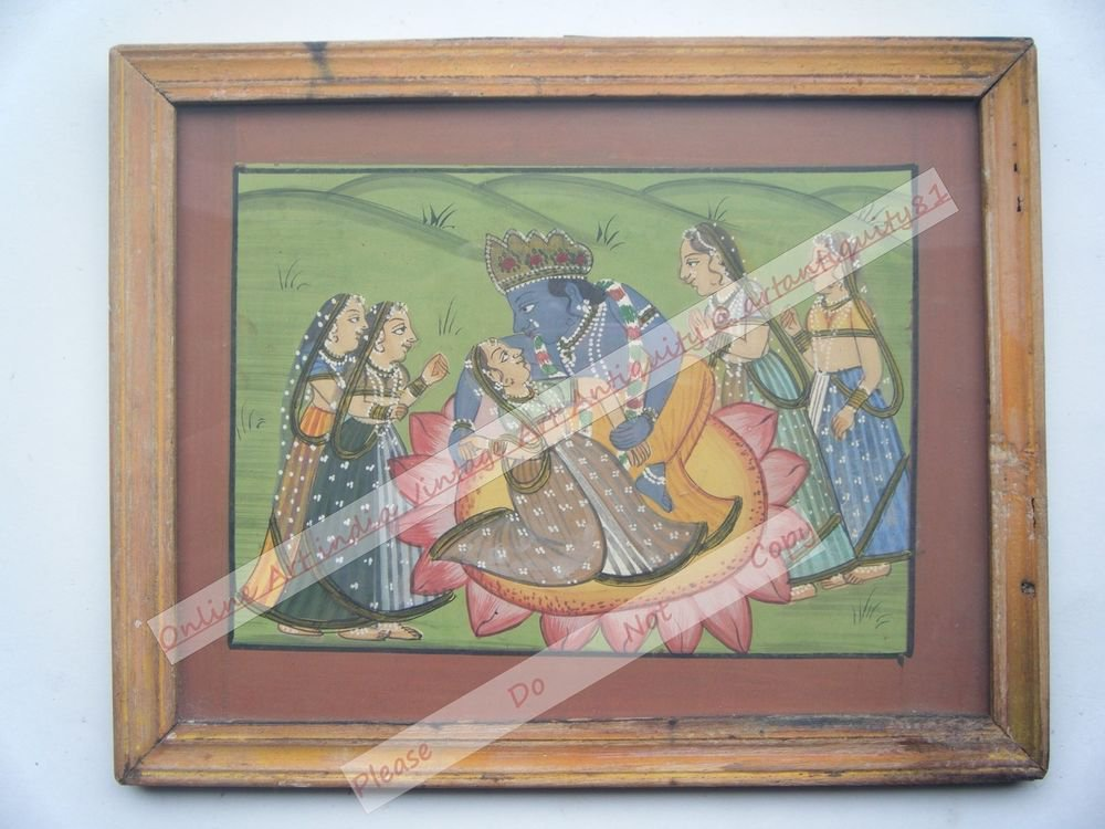 Hindu God Krishna Hand Color Folk Painting in Old Wooden Frame India #2561
