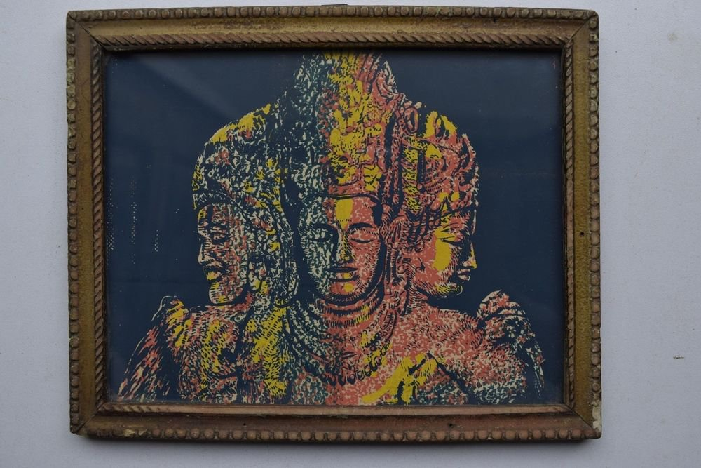 Hindu God Shiva Religious Rare Vintage Old Print in Old Wooden Frame #3001