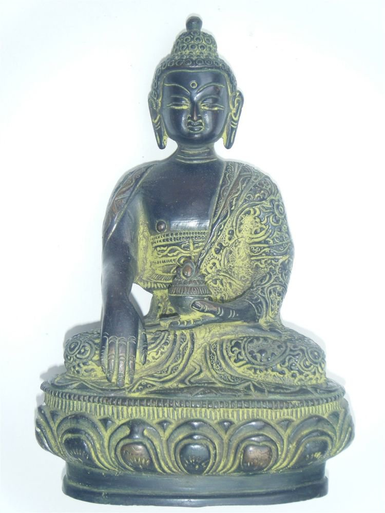 Hand Crafted Original Large Buddha Vintage Traditional Brass Statue India #892