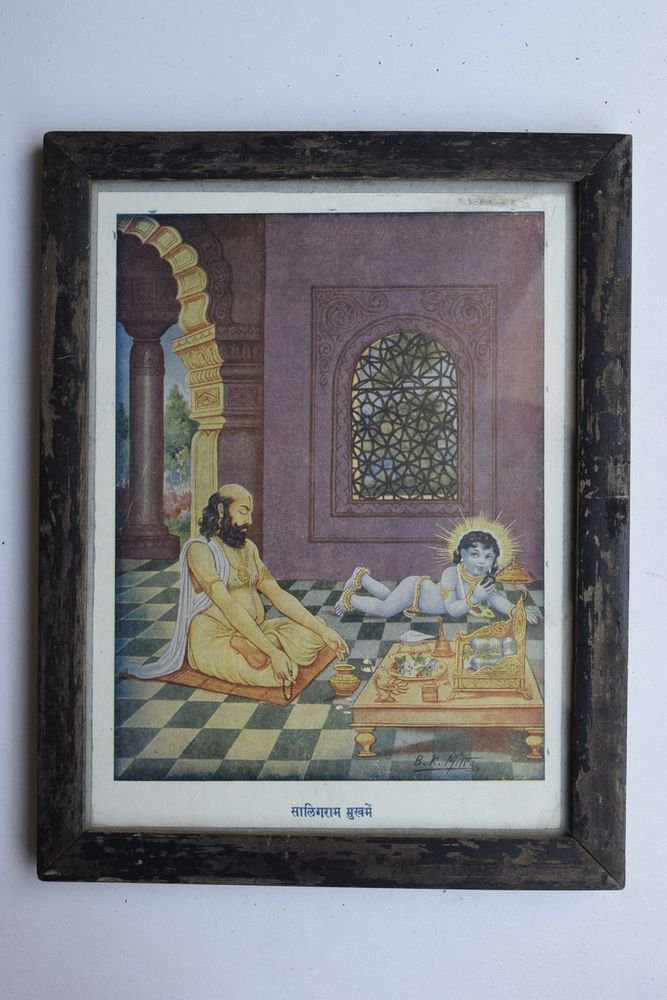 Baby Krishna Collectible Rare Old Art Print in Old Wooden Frame from India #3291