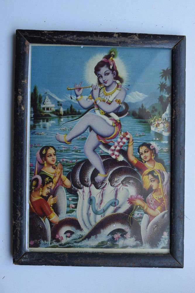 Baby Krishna Collectible Rare Old Art Print in Old Wooden Frame from India #3293