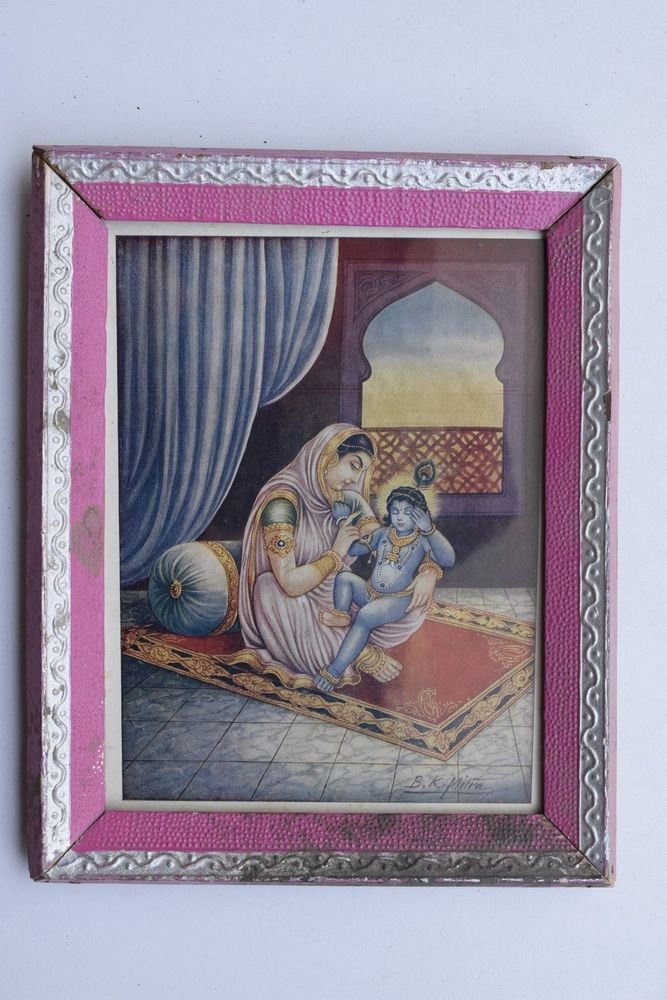 Baby Krishna Collectible Rare Old Art Print in Old Wooden Frame from India #3284