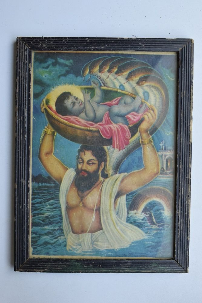 Baby Krishna Collectible Rare Old Art Print in Old Wooden Frame from India #3292
