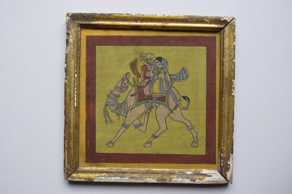 Beautiful Folk King on Camel Hand Color Painting in Old Wooden Frame India #3092